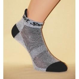 Ponožky Sport – kotníkové, světle šedé s černou patou a špičkou